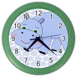 Hippo Blue Clock 2 - Color Wall Clock