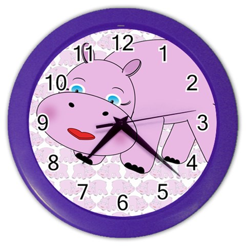 Hippo Pink Clock 2 By Chere s Creations   Color Wall Clock   2ynx0mqe2t0g   Www Artscow Com Front