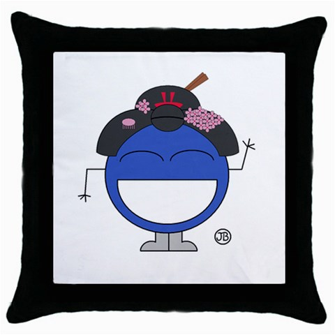 Geisha Pillow By Giggles Corp   Throw Pillow Case (black)   Zcs4m5tvlnas   Www Artscow Com Front