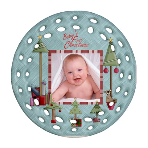 Baby s First Christmas Single Sided Round Filigree Ornament By Catvinnat   Ornament (round Filigree)   M6qpf4zxixh4   Www Artscow Com Front