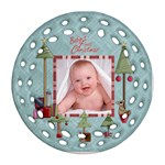Baby s First Christmas Single sided round Filigree Ornament - Ornament (Round Filigree)