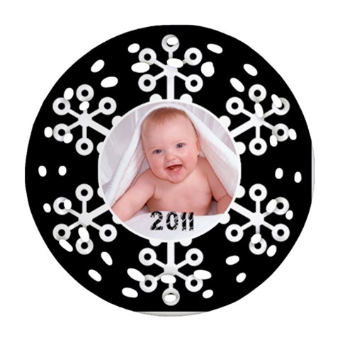 Snowflake 2011 Single Side Filigree Christmas Ornament By Catvinnat   Ornament (round Filigree)   Ylhwjjiz9cf8   Www Artscow Com Front