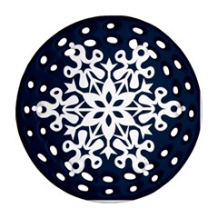 Snowflake 2011 Filigree Christmas Ornament Double Sided By Catvinnat   Round Filigree Ornament (two Sides)   1ll7u35u9893   Www Artscow Com Back