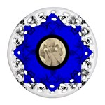 Cobalt Art Nouveau Filigree double sided ornament - Round Filigree Ornament (Two Sides)