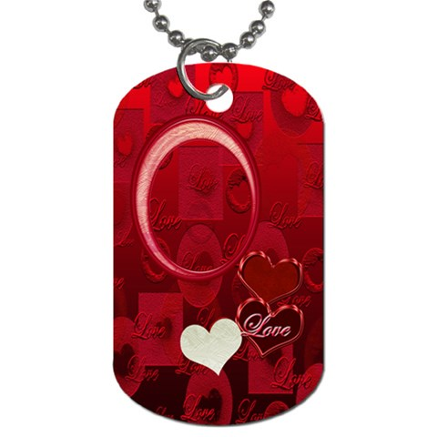I Heart You Red Dog Tag By Ellan   Dog Tag (one Side)   091eqperbe0n   Www Artscow Com Front