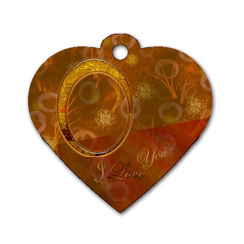 I Heart You Gold Heart Dog Tag By Ellan   Dog Tag Heart (one Side)   Qiw6o0nerhu2   Www Artscow Com Front