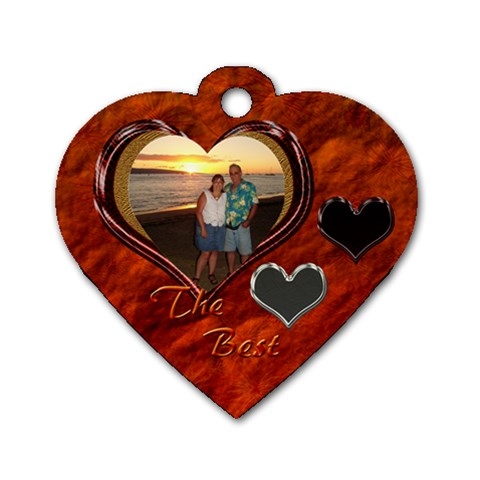 The Best Orange Heart Dog Tag By Ellan   Dog Tag Heart (one Side)   2lg1ig2snib6   Www Artscow Com Front