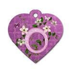 Spring flower floral purple dog tag - Dog Tag Heart (One Side)