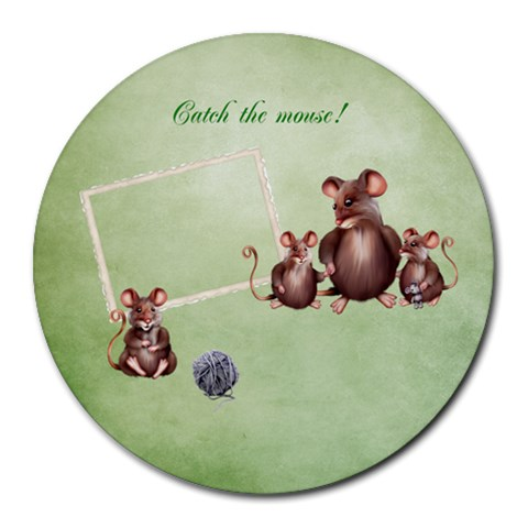 Catch The Mouse! Mousepad By Elena Petrova   Collage Round Mousepad   Nj8xoadefd0o   Www Artscow Com 8 x8 Round Mousepad - 1
