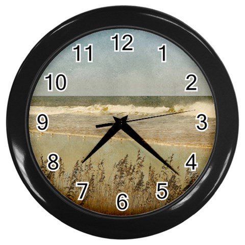 Beach Clock By Eleanor Norsworthy   Wall Clock (black)   Bwr2qjl5mont   Www Artscow Com Front
