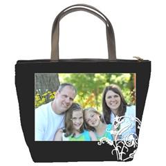 Black Floral Bucket Bag By Amanda Bunn   Bucket Bag   Ihslpa91lttw   Www Artscow Com Back