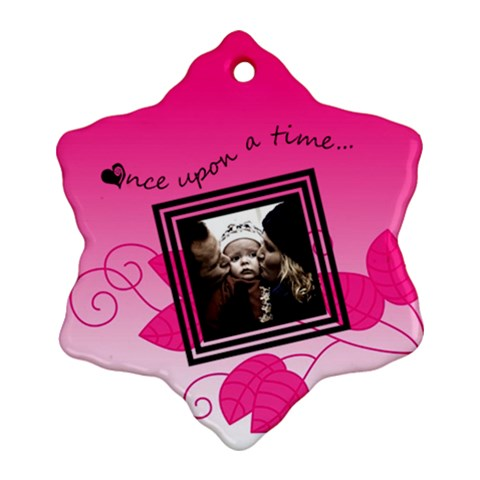 Once Upon A Time (pink)   Snowflake Ornament By Carmensita   Ornament (snowflake)   5q9lhstvz75i   Www Artscow Com Front