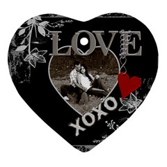 Black Love Heart 2 Sided Ornament By Lil    Heart Ornament (two Sides)   Ndhnynbq6hru   Www Artscow Com Front