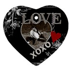 Black Love Heart 2-Sided Ornament - Heart Ornament (Two Sides)