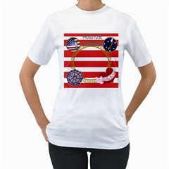 Proud To Be An American By Kim Blair   Women s T Shirt (white) (two Sided)   5uzst3i9v92o   Www Artscow Com Front