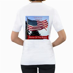 Proud To Be An American By Kim Blair   Women s T Shirt (white) (two Sided)   5uzst3i9v92o   Www Artscow Com Back