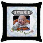 Laugh Throw Pillow Case - Throw Pillow Case (Black)
