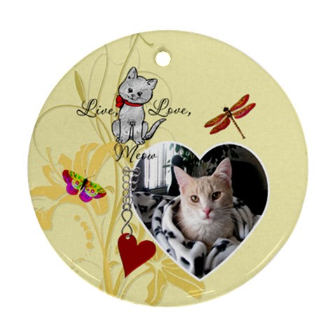 Live, Love, Meow Round Ornament By Lil    Ornament (round)   2dvfur8h1s89   Www Artscow Com Front