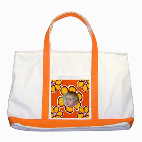 My Little Orange Flower By Deborah   Two Tone Tote Bag   Ox83v9c3vhbe   Www Artscow Com Front