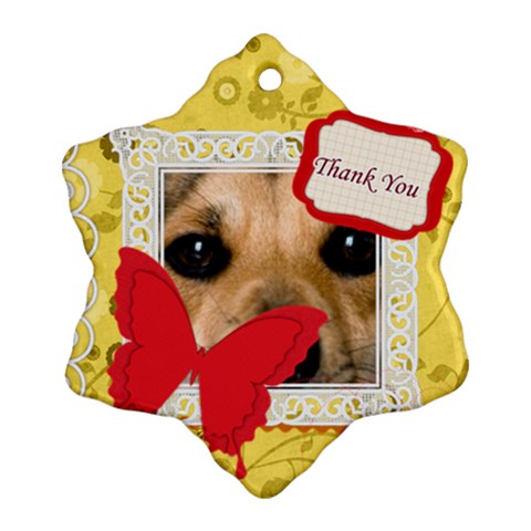 Thank You By Joely   Ornament (snowflake)   6i6xa3lngf1d   Www Artscow Com Front
