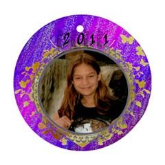 2011 Purple Ornament By Kim Blair   Round Ornament (two Sides)   Qg06sp4mur6b   Www Artscow Com Back
