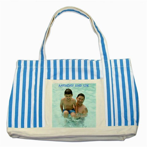 Bag For Burma By Emily Webster   Striped Blue Tote Bag   Yqb892bwwero   Www Artscow Com Front