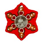 Gingerbread Hearts Snowflake ornament single sided - Ornament (Snowflake)