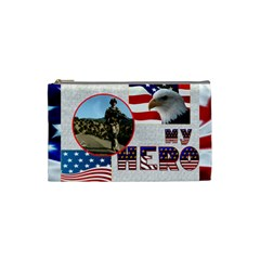 My Hero Us Military Cosmetic Bag Small By Catvinnat   Cosmetic Bag (small)   7n7ppncmxpbi   Www Artscow Com Front
