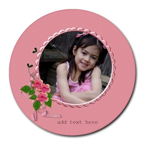 Round Mousepad  Girly Pink By Jennyl   Round Mousepad   Uj20a3d38ggq   Www Artscow Com Front