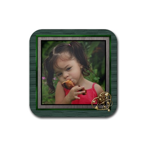 Love Heart Green Coaster By Deborah   Rubber Coaster (square)   O0wpu272lba9   Www Artscow Com Front