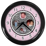 Pink & Black Clock - Wall Clock (Black)
