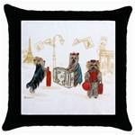 Travelling Yorkies in Paris Throw Pillow Case (Black)
