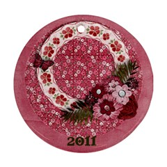 Sweet Pink Flowers Ornament  2 Sides By Mikki   Round Ornament (two Sides)   Noore32q05w2   Www Artscow Com Back