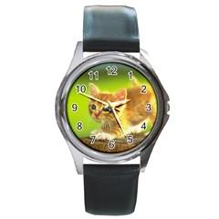 Cat5 Round Metal Watch by designergaze