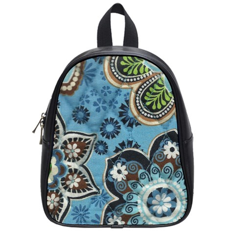 Small Blue School Bag By Eleanor Norsworthy   School Bag (small)   Xts0v95geu6k   Www Artscow Com Front