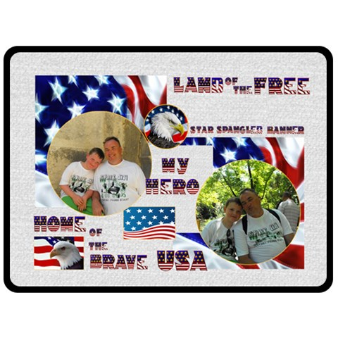 Land Of The Free Us Military Extra Large Fleece By Catvinnat   Fleece Blanket (large)   Yng09w0ndmj8   Www Artscow Com 80 x60 Blanket Front