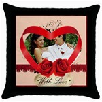 with love - Throw Pillow Case (Black)