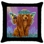 red poodle in forgetmenots 8 by 10 Throw Pillow Case (Black)