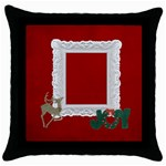 Throw Pillow- Christmas Joy - Throw Pillow Case (Black)