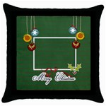Throw Pillow- Merry Christmas - Throw Pillow Case (Black)