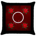 Throw Pillow- Christmas Poinsettia - Throw Pillow Case (Black)