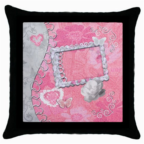 Spring Pink Heart Love Throw Pillow Case By Ellan   Throw Pillow Case (black)   6hv3umd9rd3j   Www Artscow Com Front