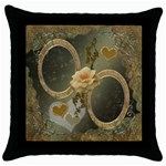 Neutral gold throw pillow case - Throw Pillow Case (Black)