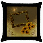 Neutral gold sunflower throw pillow case - Throw Pillow Case (Black)