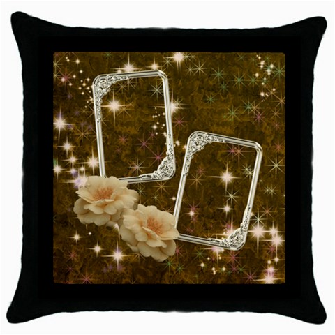 Neutral Gold Star Rose Throw Pillow Case By Ellan   Throw Pillow Case (black)   Unmynh9euaic   Www Artscow Com Front