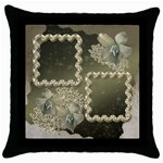 Neutral silver wedding throw pillow case - Throw Pillow Case (Black)