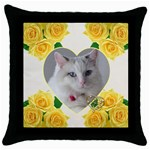 Lemon Hearts - Throw Pillow Case (Black)