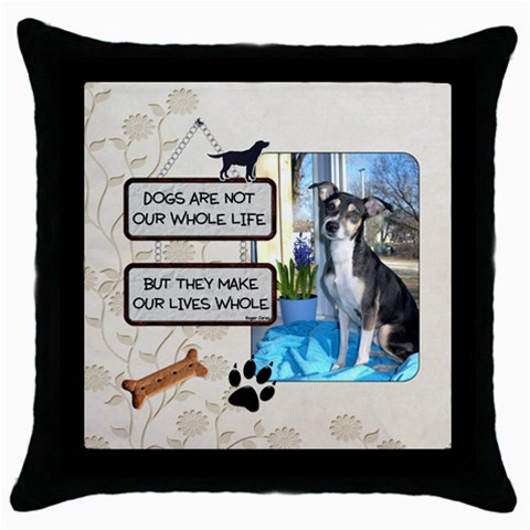 Dogs Throw Pillow By Lil    Throw Pillow Case (black)   N2iwfdwp66zr   Www Artscow Com Front