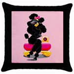 black poodle on phone pillow Throw Pillow Case (Black)
