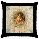 angel cupids with golden frame for pillow copy Throw Pillow Case (Black)
